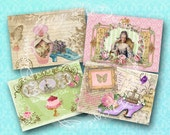 Marie Antoinette Notecards Gift Tags Digital Instant Download Printable Images for ACEO, ATCs