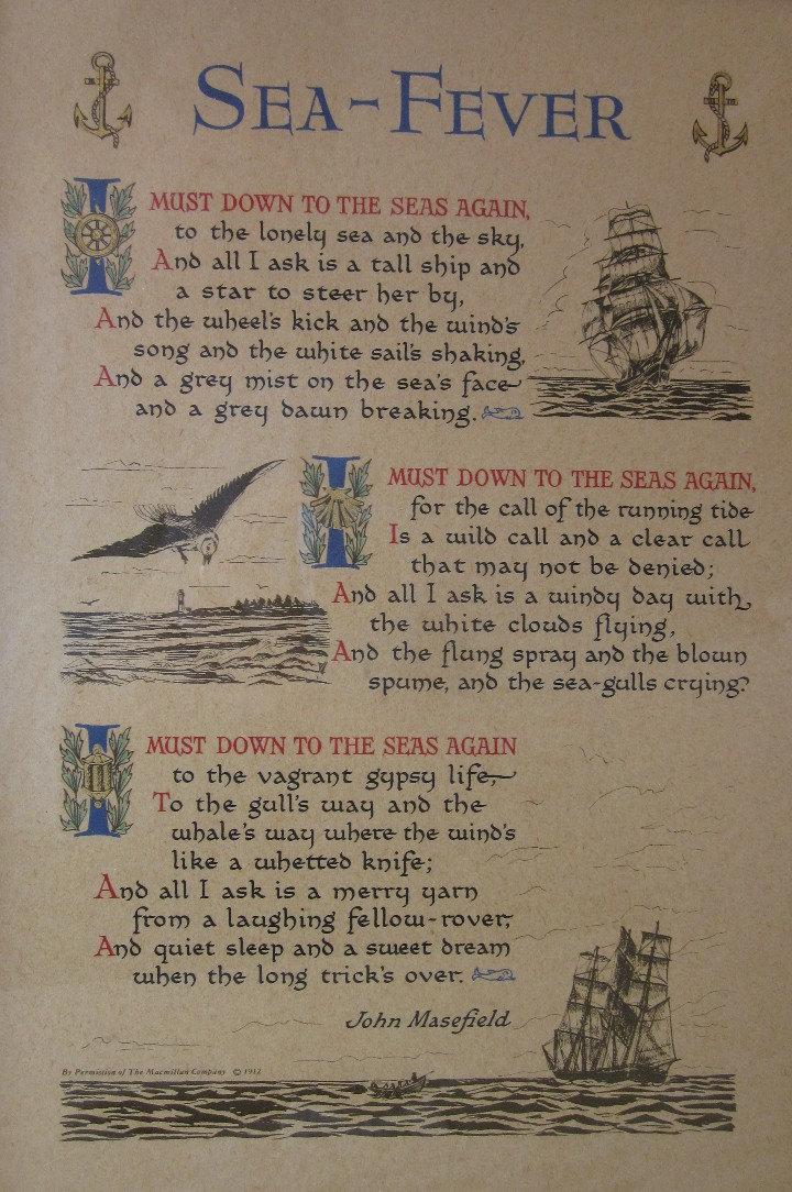 Vintage Sea Fever Framed Print Poem By John Masefield