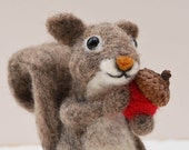 Acorn the Squirrel, needle felted grey animal fiber art sculpture