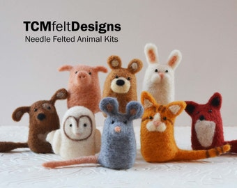 3 needle felting animal kits, wool DIY complete fiber art kits for beginners