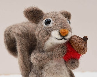 Acorn the Squirrel, needle felted grey animal fiber art sculpture