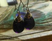 WICKED. Deep dark Purple Eggplant Glass Bulb Rustic Dramatic drop earrings