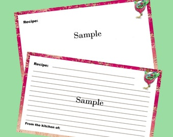 Recipe Cards 3 x 5 Editable and Printable Digital Instant Download for Birds of a Feather Recipe Box