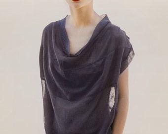 Under 50!  Oversized black net boyfriend T-shirt pleated shoulders