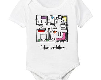 Organic Future Architect Designer Baby Onesie / Bodysuit - Blueprint Sketch Drawing