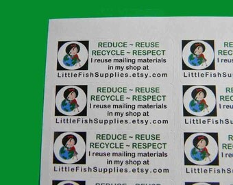 30 PERSONALIZED Go Green Labels. 1 Sheet of White 1-Inch Labels. 4955