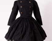 Steampunk Dress Military Lolita Gothic Dress Black Military Dress with Gears Womens Large - MGDclothing
