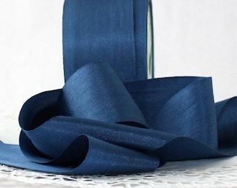 """Navy Blue Silk Ribbon, 1.25"""" wide by the yard, Navy Blue Silk, Navy Blue Silk Trim, Nautical, Wedding, Bouquets, Bridal Sash, Sewing"""