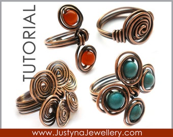 Spiral Ring Tutorial, Wire Wrapping Ring Tutorial, Rosette Ring Tutorial, Twist Ring, Beaded Ring Tutorial, Wire Rings Tutorial, Wirework