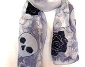 Silk Scarf, Hand Painted Silk Scarf, Skulls Roses Scarf, Black Milky Gray Goth Silk Scarf