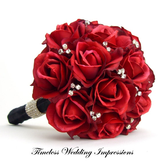 Red Wedding Flowers: Items Similar To Red Bridal Bouquet Real Touch Roses
