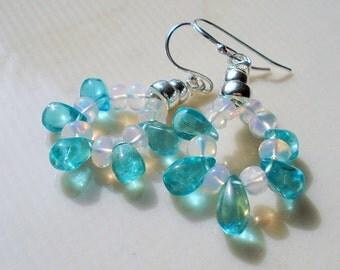 Opal Apatite Earrings, Ethiopian Opal, Blue Apatite,Sterling Silver ON SALE were 49.00