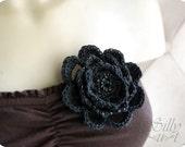 brooch - crochet flower-   - - -gothic, victorian, mourning jewelry, memento mori, handbeaded