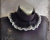 crochet collar - gothic, victorian, romantic, mourning, elegant, black, grey, secretary, evening wear, scalloped edge