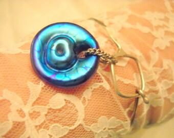 Deep Blue Dichroic Art Glass and Sterling Silver Bracelet, Time Raveler
