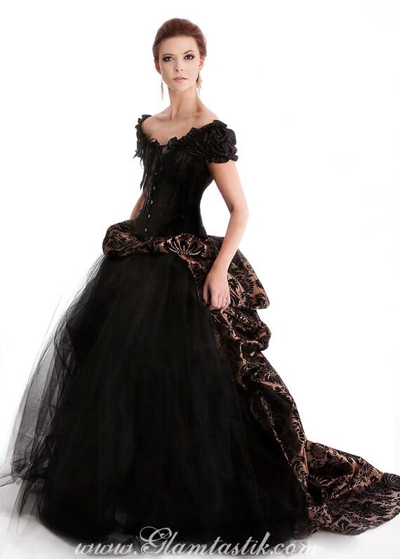 Custom Size Bronze And Black Damask Burlesque Tulle Prom Dress