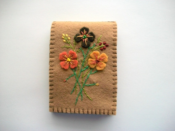 Brown needle book felt keeper with hand embroidered