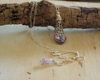 Vintage Style Necklace Violet Enchanted Swarovski, Fairy Glow Necklace, Sterling Silver Chain, Wedding Jewelry, Bridesmaid Necklaces, Summer