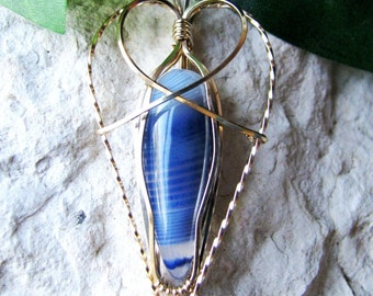 Blue Onyx Pendant - Wire Wrapped Pendant - Gold Wire Wrapped Blue Onyx - Blue Onyx Jewelry - Gold Wrapped Blue Onyx - Blue Onyx