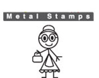 GRANDMA Family Metal STAMP 7mm Jewelry Steel Punch for Hand Stamped Jewelry Making Tool Grandmother Stick Figure