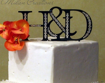 Two Initials Cake Topper with Crystals
