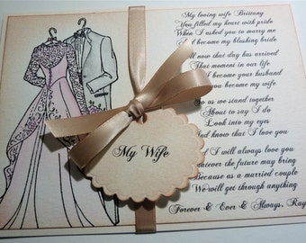 For My Wife Wedding Card, Hand Painted Vintage Style Love Card, For My Bride on Wedding Day