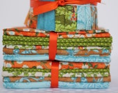 Pre-cuts Bundle in Tangerine, Blue, and Green - 1 Jelly Roll and 2 Fat Quarter Stacks