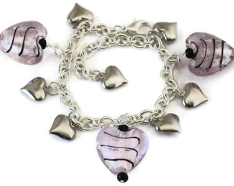 Pink Silver Heart Charm Bracelet, Valentines Day Gifts, Gifts for Women Mom Wife Sister Daughter Grandma Under 25, Stocking Stuffers
