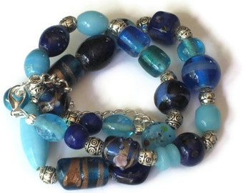 Blue Beaded Necklace, One of a Kind, Graduation Gifts, Gifts for Women Mom Wife Sister Daughter Grandma Teacher Under 25, Stocking Stuffers