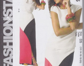 McCall's Fashion Star Easy Pullover Top and Color Block Skirt Pattern  M6755 Sizes 12 - 20