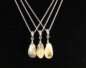 Bridal Party, Set of 3, Genuine Citrine Nugget Pendant, Sterling Silver Necklace, Therapeutic Gemstones