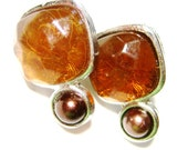 vintage turtoise brown with silver tone setting pierced earrings SB13