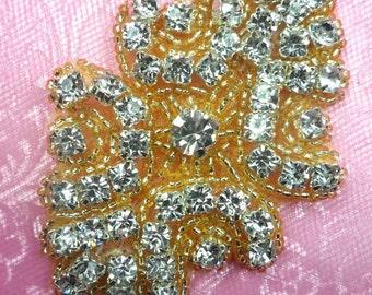 "ACT/0477 Gold Backing Cinderella Genuine Rhinestone Gold Beaded Applique 3"" (ACT/0477-glcr)"