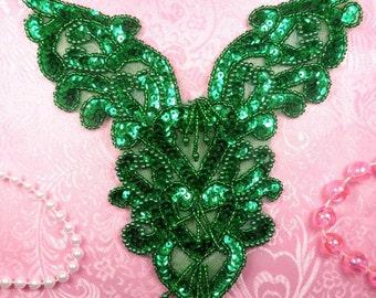 """0035 Heart Bodice Applique Yoke Sequin Beaded Kelly Green 8"""" (0035-gr)"""