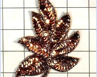 "FS476  Leaf Applique Sequin Bronze Beaded Motif 4""   (FS476-bz)"