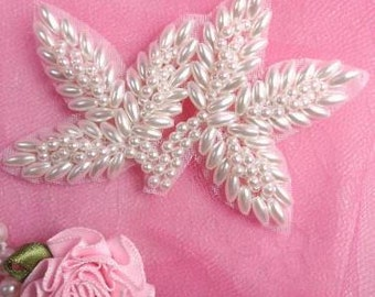"FS566 White Pearl Beaded Leaf Applique 3.5""   (FS566-whp)"