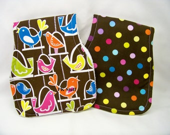 Contoured Burp Cloth in Bird Swing - Shoulder Cloth - Set of Two - Ready To Ship