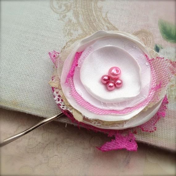 Shabby Pink Flower Hair Pin Cerise Corsage Bobby Pin Upcycled Lace White Cream Satin Fabric - Tattered Tashana
