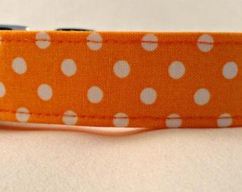 Eyecatching White Polka Dots on Bright Orange Dog Collar