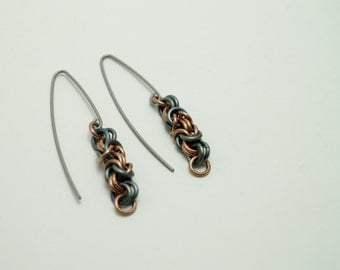 Serpent Green Titanium and Copper Byzantine Earrings