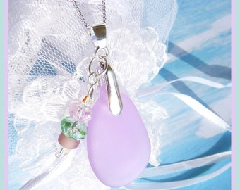 Sea Glass - Light Pink Violet - Necklace  W 8461