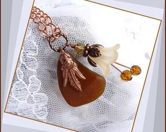 Victorian Amber - Sea Glass - Copper Necklace  DC 8523