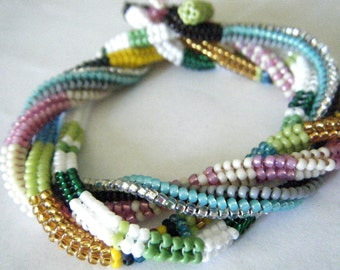 Square Rope Bracelet or Necklace Bead Weaving Pattern