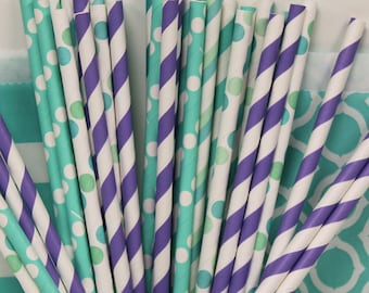 ROYAL SEASIDE Party Paper Straws, Wedding, Baby Shower, Parties, 30 ct Paper Drinking Straws with Diy Flags, Tropical, Beach parties