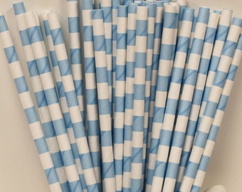 Paper Straws, 25 Light Blue Sailor Stripe Paper Straws, Blue Paper Straws, Drinking Straws, Baby Shower Straws, Mason Jar Straws, Birthday