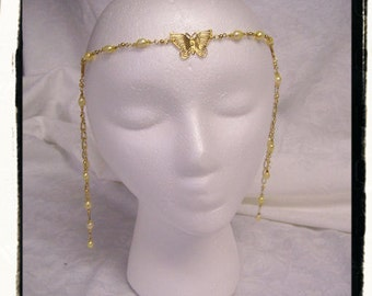 Butterflies and Pearls Medieval Renaissance Game of Thrones Filigree Circlet Head Band