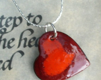 Two Hearts/One Necklace Handmade Enameled Pendant