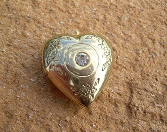 Vintage Gold tone Puffed Heart shaped Locket pendant with etched design and rhinestone