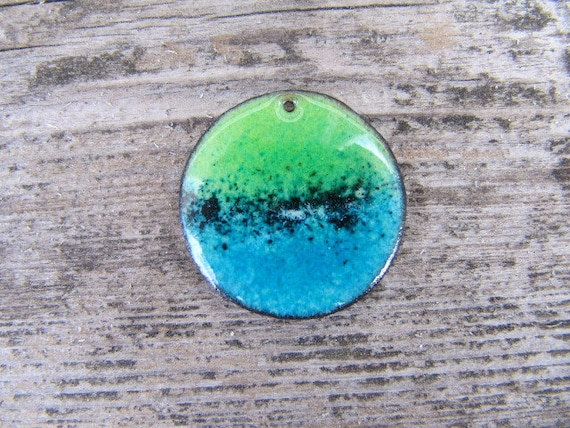 Enamel on Copper Disk, Sea Glass Color