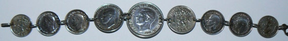 Reserved for OneMansTreasure Silver Coin Bracelet 40s Coins Australian Shilling Pence Nederl Indie 21.2 G